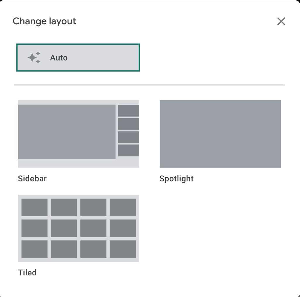 layout options for google meets