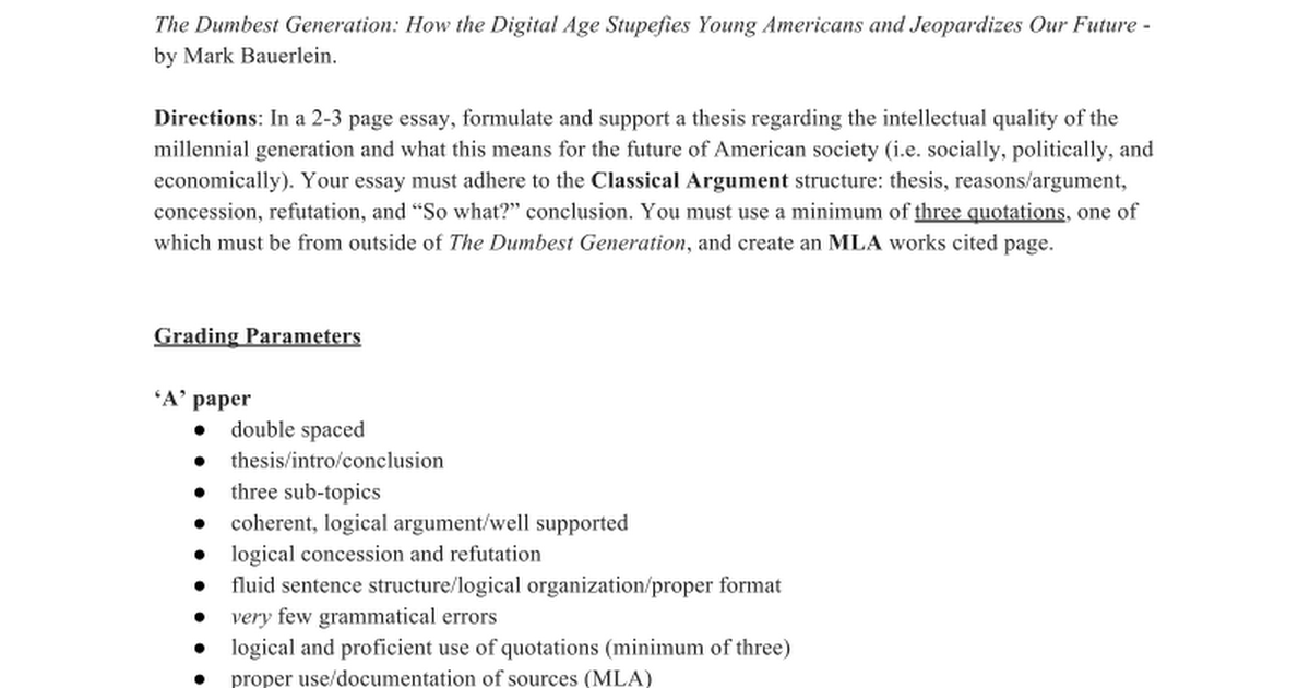 the dumbest generation essay google docs