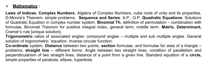 VOCLET 2021 Mathematics Syllabus: