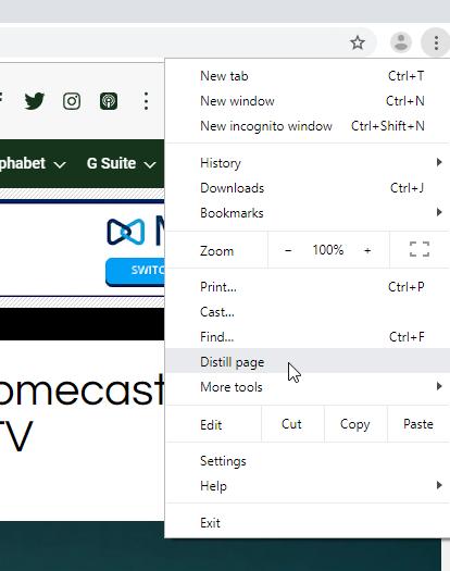 Mode lecteur sur Chrome