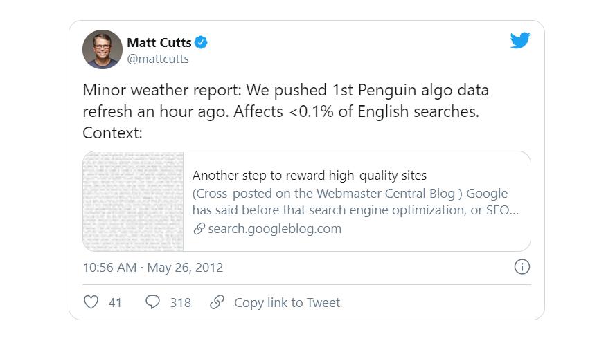 Thông tin về cập nhật thuật toán Google Penguin
