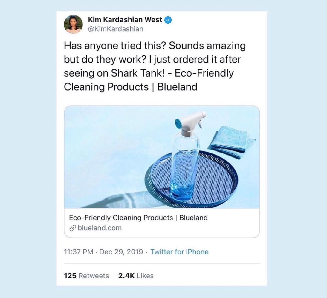 Kim Kardashian tweeting about Blueland