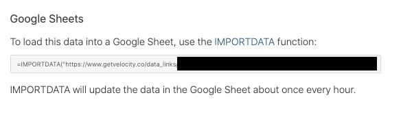 Data Link URL for Google Sheets