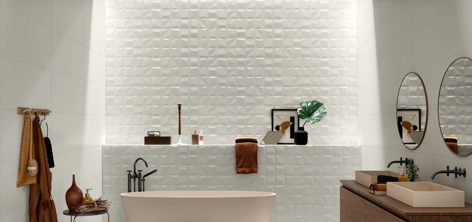 3D square white wall tile in a bathroom