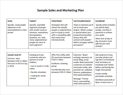 Business Plan To Increase Sales Template