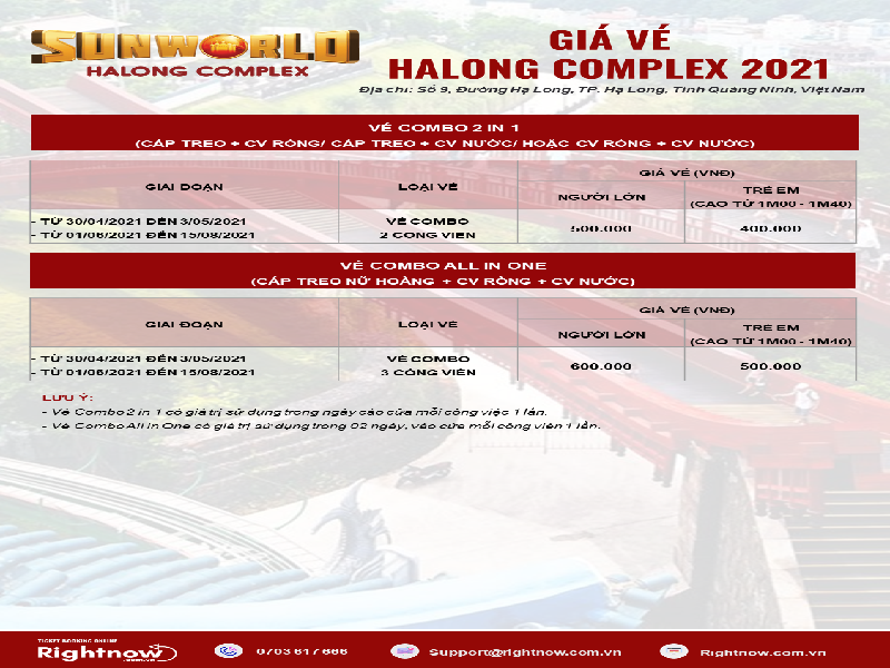 bảng giá vé Hạ Long Complex