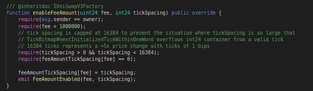 Code block for enabling fee amount