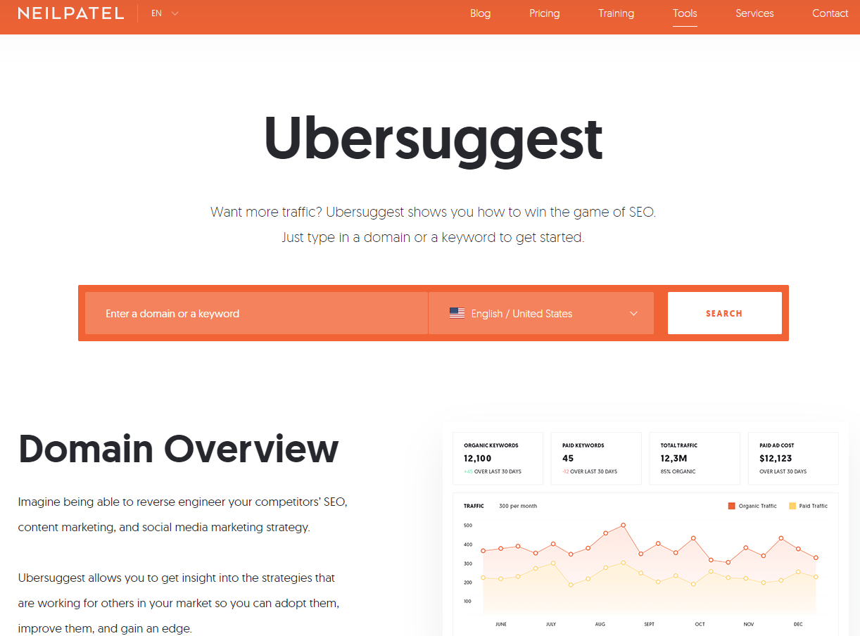free SEO software Ubersuggest