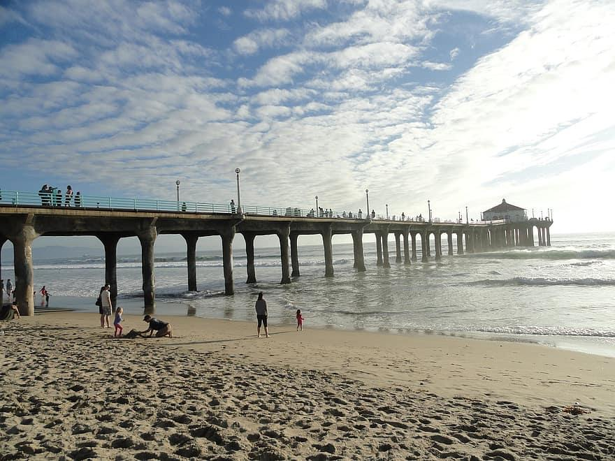 pier, santa, monica, beach, angeles, los, california, pacific, sea, coast,  sand | Pikist