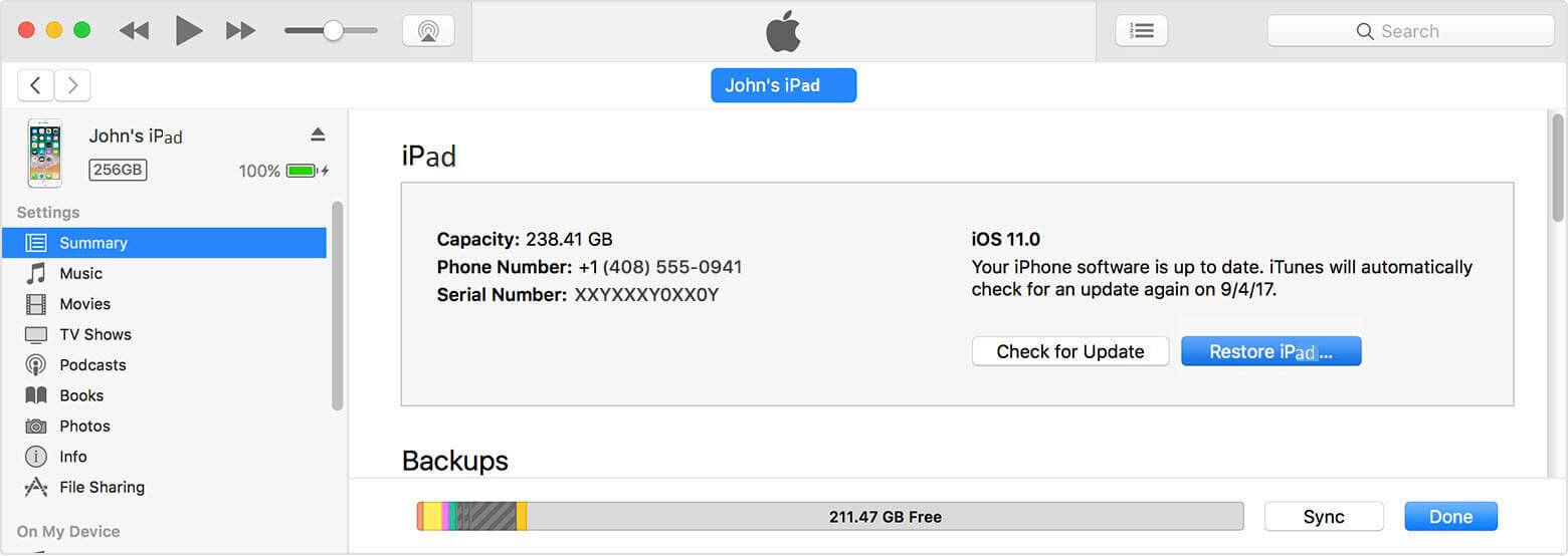 iTunes Erase iPad