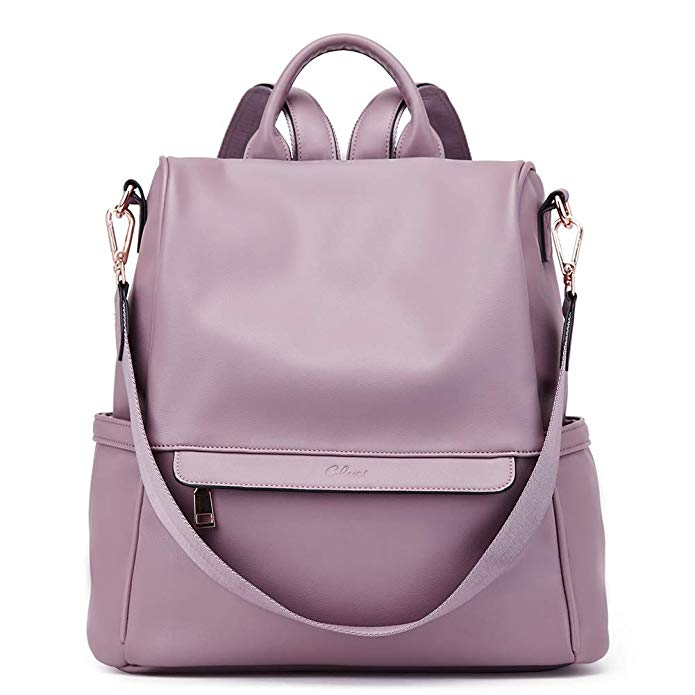 Women Backpack Purse Fashion Leather Large Travel Bag Ladies Shoulder Bags Purple