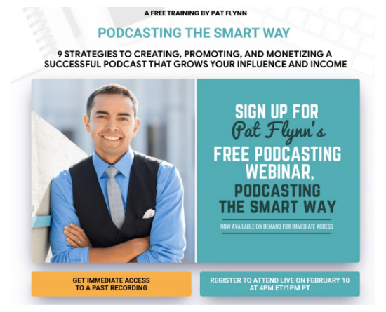 Screenshot of Pat Flynn's landing page advertising his webinar about podcasting