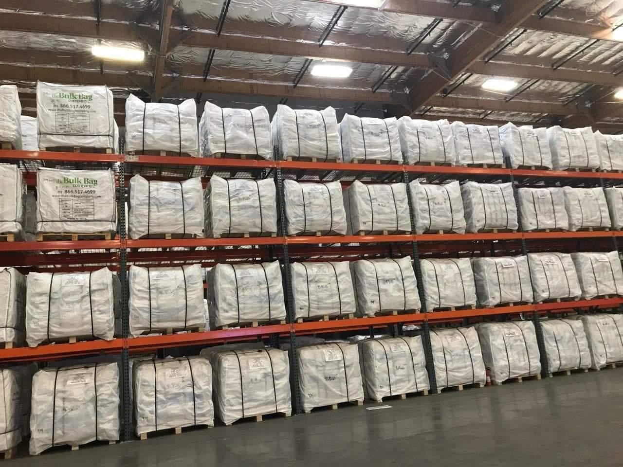 big bags on pallets on racking structures