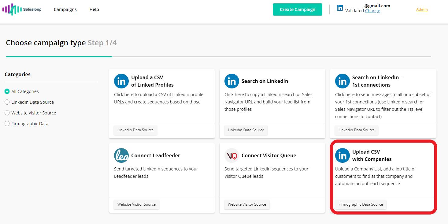 Salesloop campaign using upload CSV