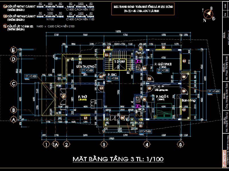 mat bang biet thu 21 - Thiết kế biệt thự 3 tầng kiến trúc tân cổ điển ở Huế