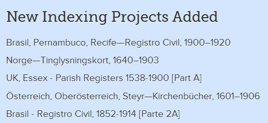 Screenshot of Newly Added Indexing Projects on FamilySearch