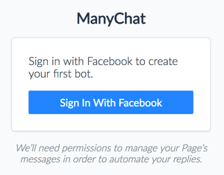 Sign in with Facebook to create your first bot