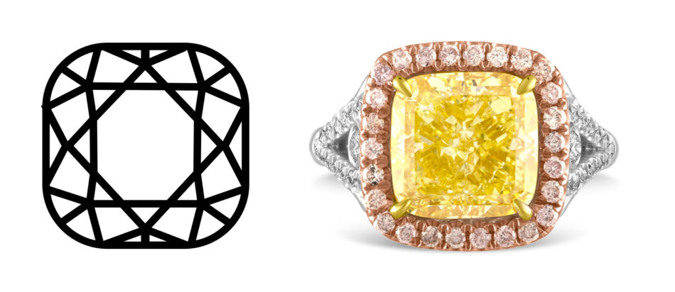 5.03-carat fancy yellow cushion-cut diamond in a tricolor ring