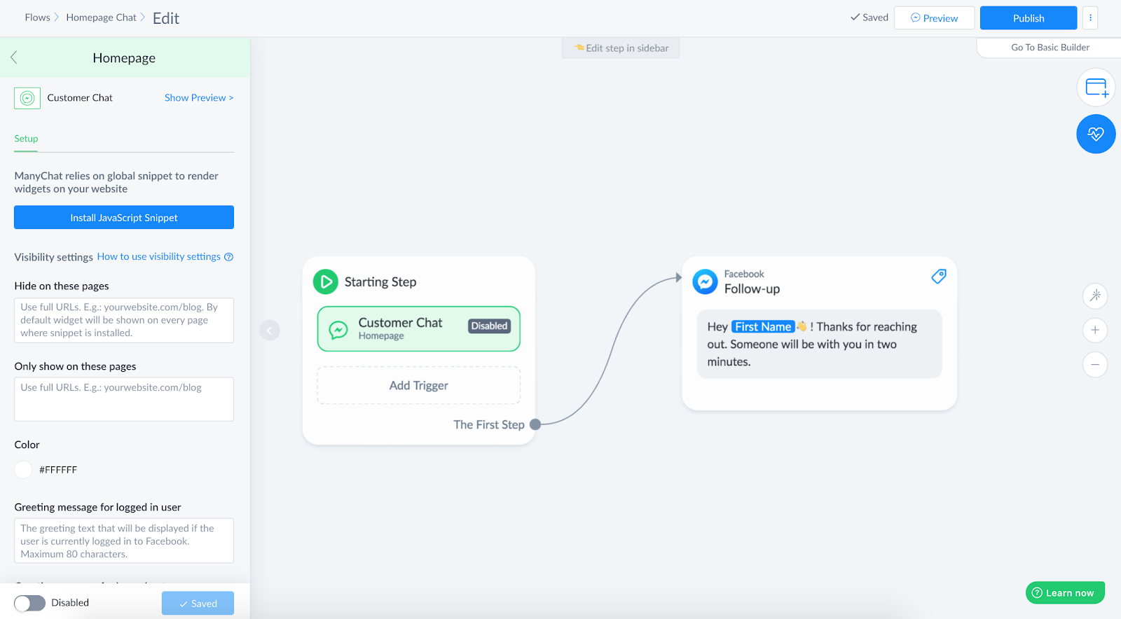 Adding Customer Chat in Flow builder
