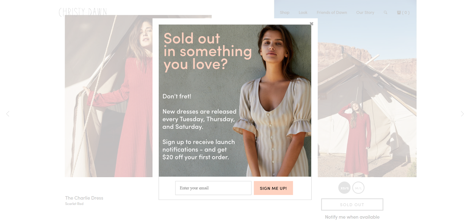 An example of an ecommerce popup that uses an out of stock product to encourage a customer to make a purchase.