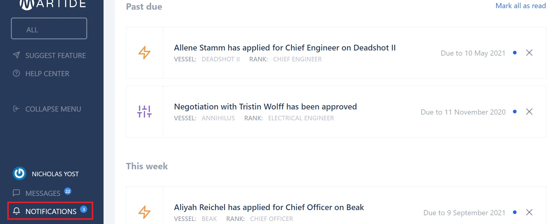 screenshot of the Notifications page.