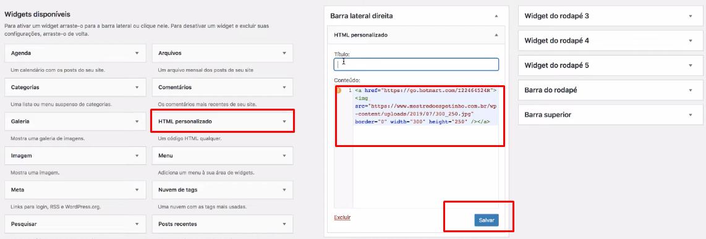colocando código html no widget