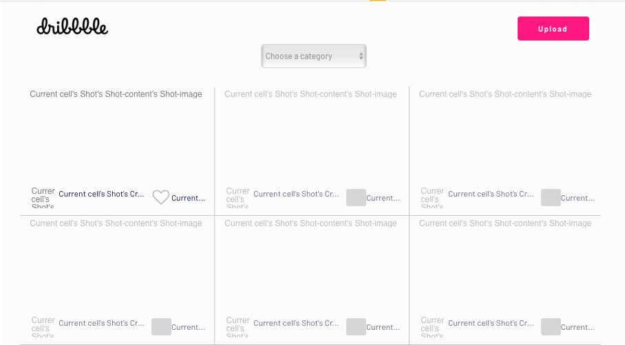 Dribbble user interface built in Bubble no-code platform