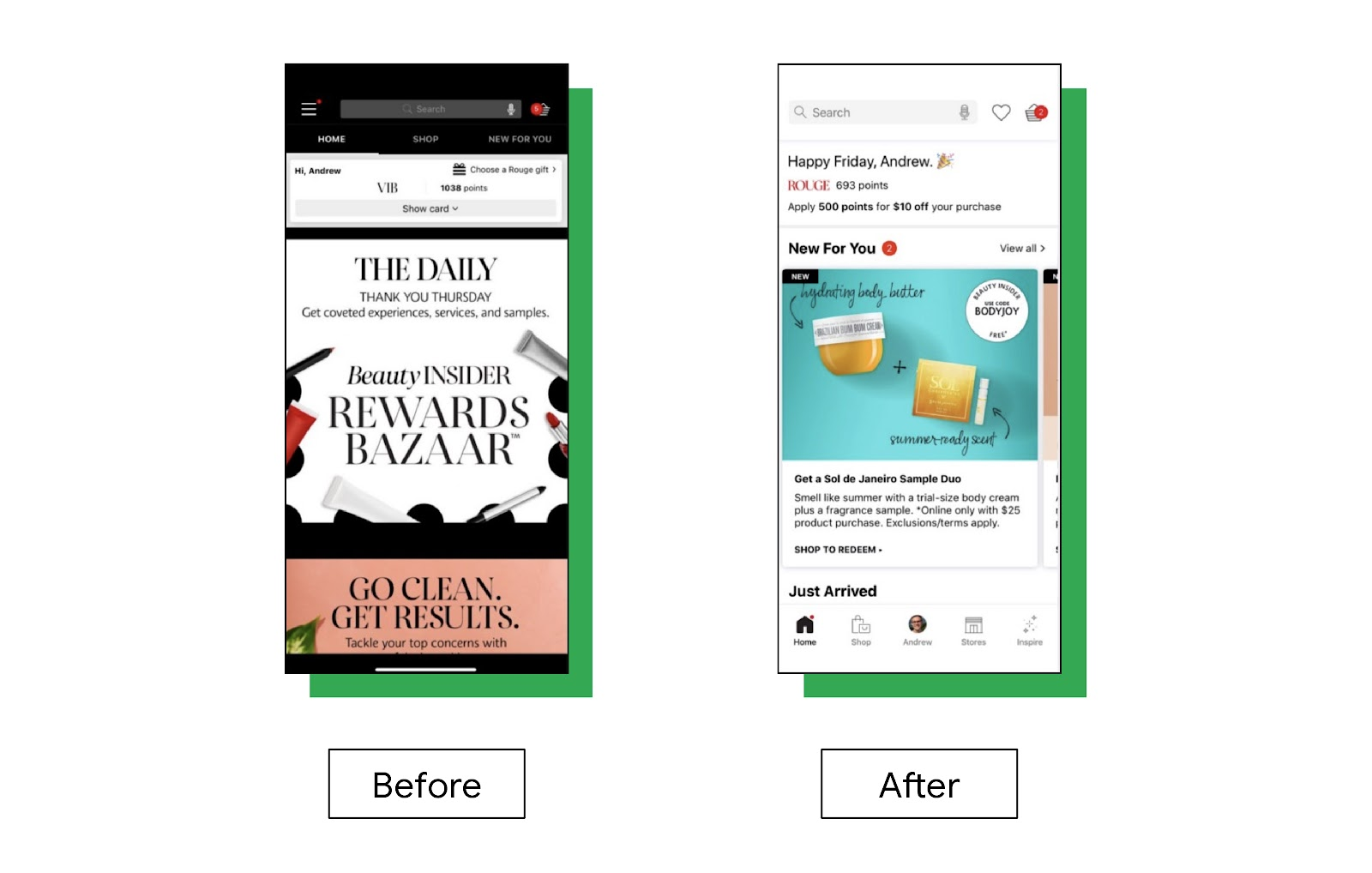 Before and after screenshots of Sephora's redesigned mobile app. The new design, on the right, has a more user-friendly bottom navigation menu and a personalized greeting at the top of the page.