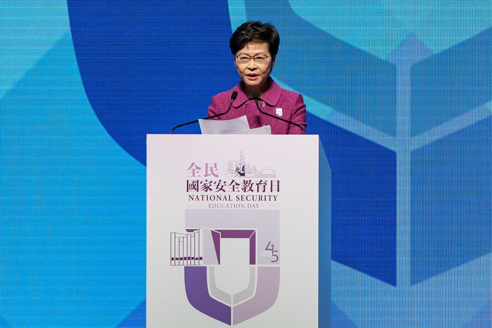 Hong Kong Chief Executive Carrie Lam delivers a speech during the National Security Education Day Opening Ceremony at the Hong Kong Convention Centre on April 15, 2021 in Hong Kong. With the National Security Law in full force, Hong Kong's democracy is gone and the city now sees its greatest fear in living color: Chinese Communist Party rule.