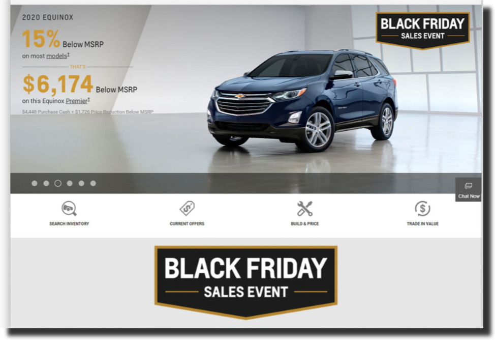 Chevrolet simple and straightforward web design Car Dealer Website Design