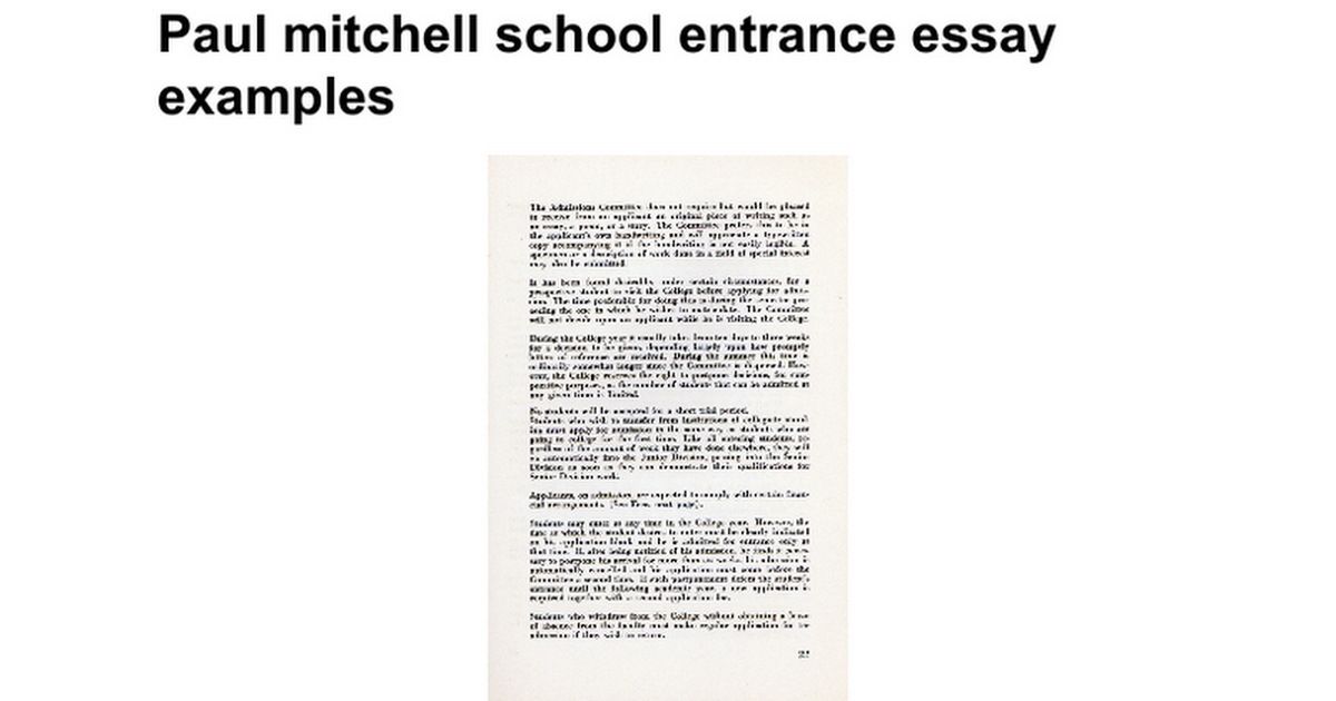 paul mitchell school entrance essay examples google docs