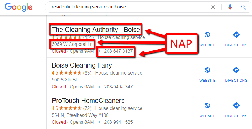 residential cleaning services in boise serps