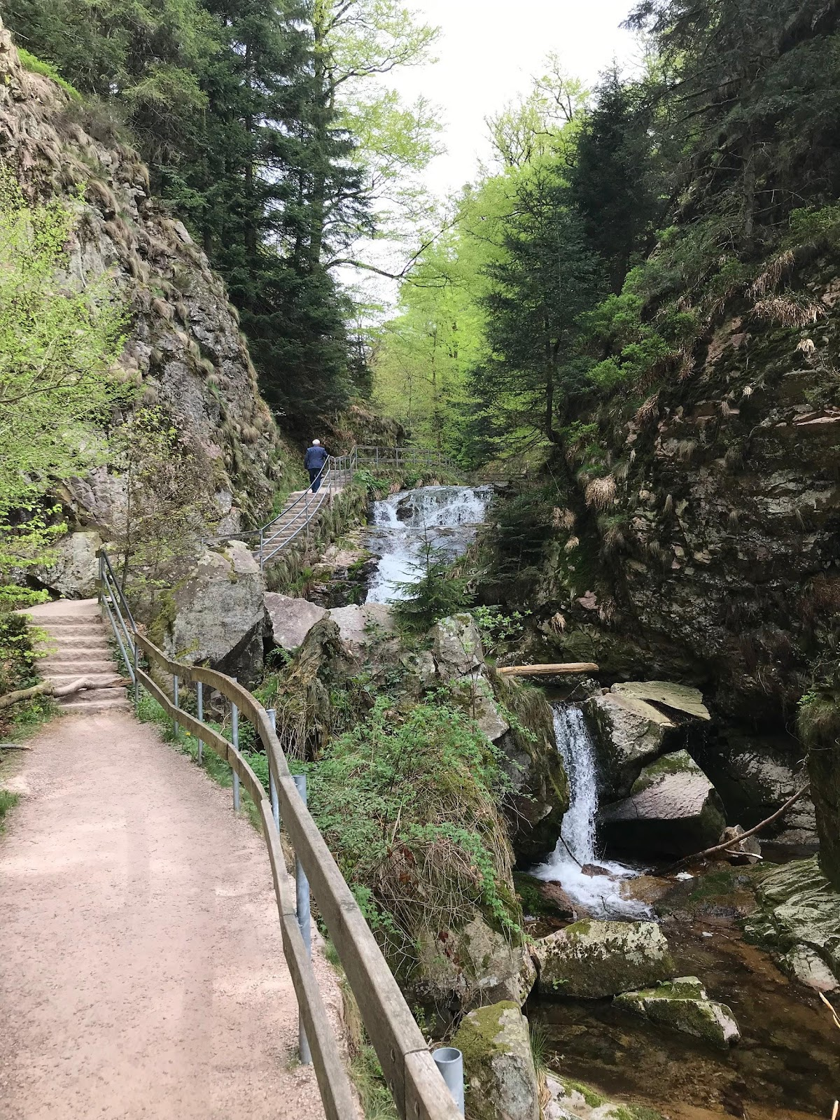 man walking up path next to allerheiligen waterfalls in germany surrounded by tall mountains and dense forest. See Allerheiligen waterfalls during our Black Forest Road Trip itinerary.