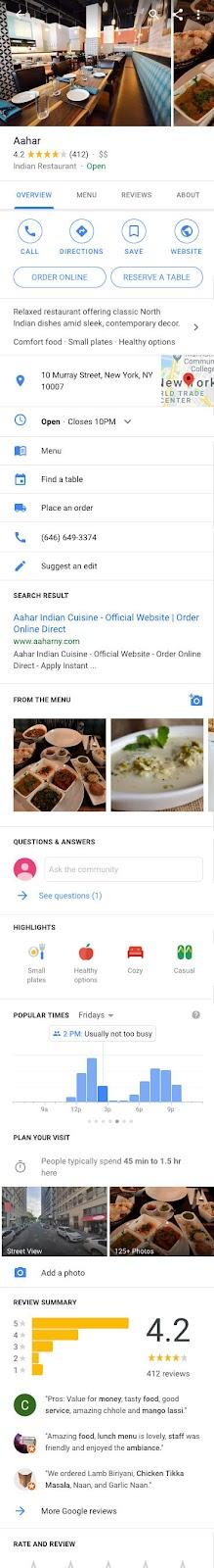 google my business for restaurants listing