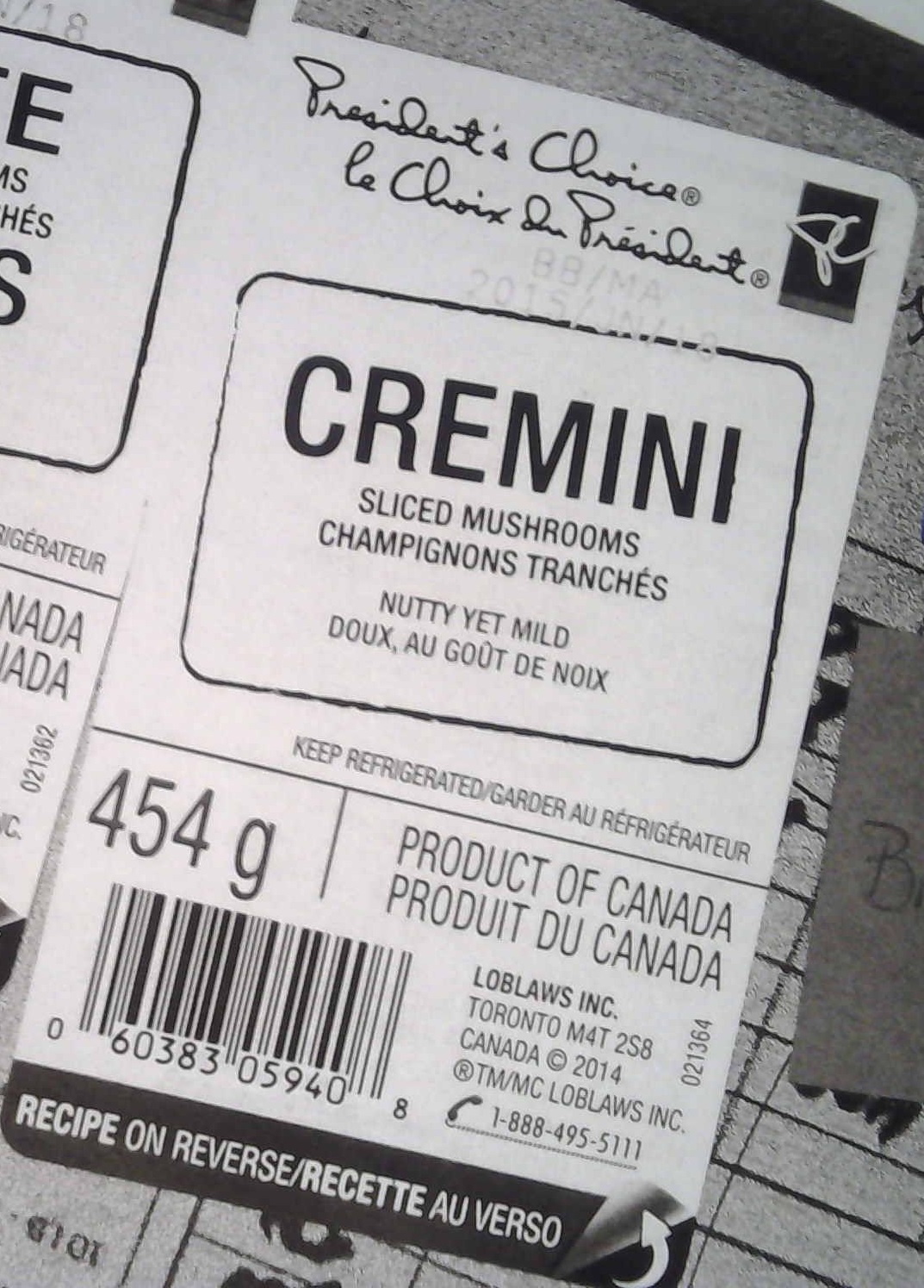President's Choice - Cremini Sliced Mushrooms