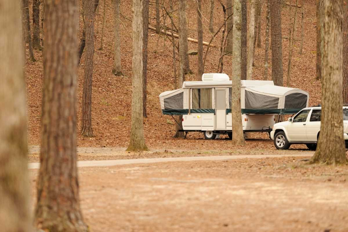 pop up camper in forest