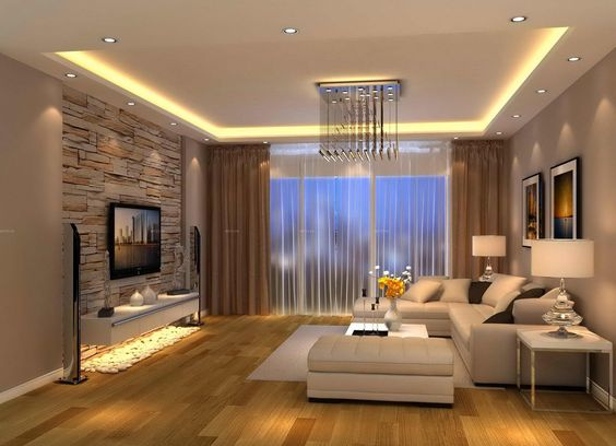 Đèn led chiếu sáng trang trí tủ phòng khách