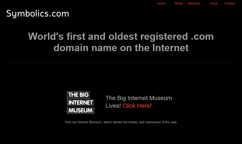 symbolics.com - the first ever registered domain name: oldest domain.