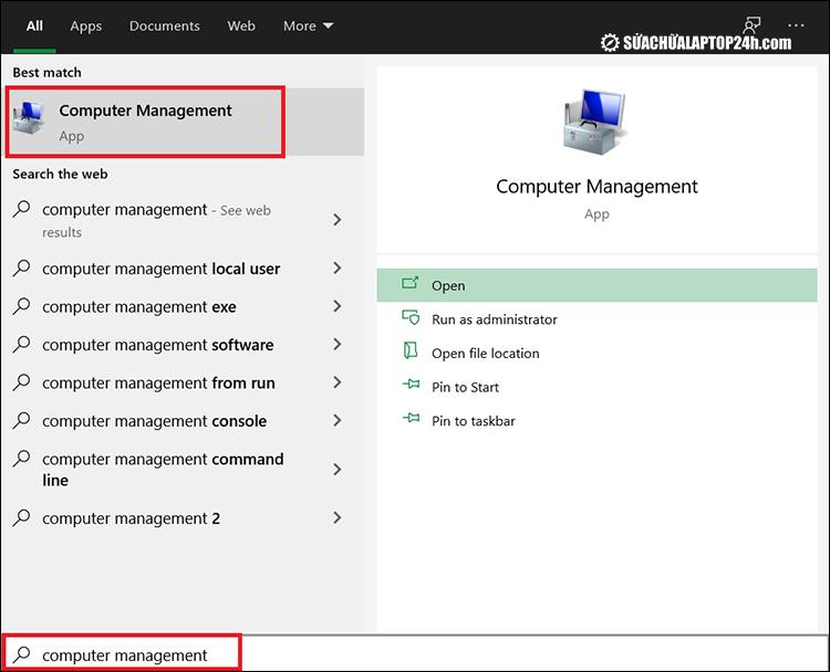 Truy cập Computer Management