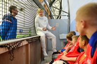 Moritz Bauer talks to children in Stoke City Community Trust's Essential Life Skills project.