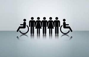 Duty To Accommodate   graphic of able bodied workers bookended with two disabled workers