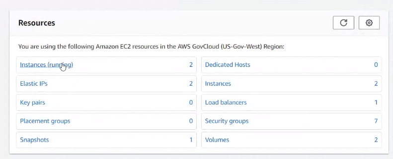 Resources Dashboard  AWS Govcloud services
