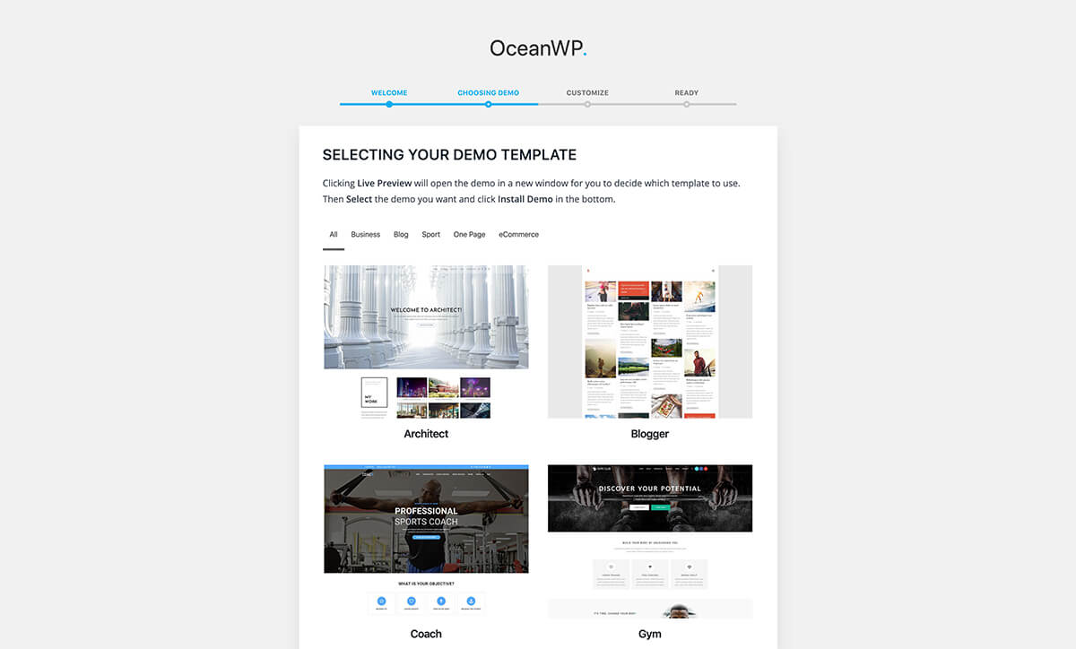 Demo Sites Example Ocean WP