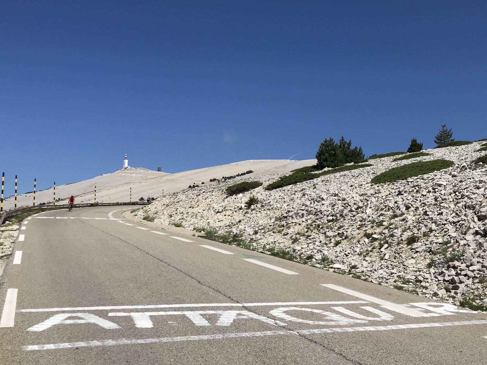 Mont Ventoux radio tower - roadway and Tour de France writing on pavement