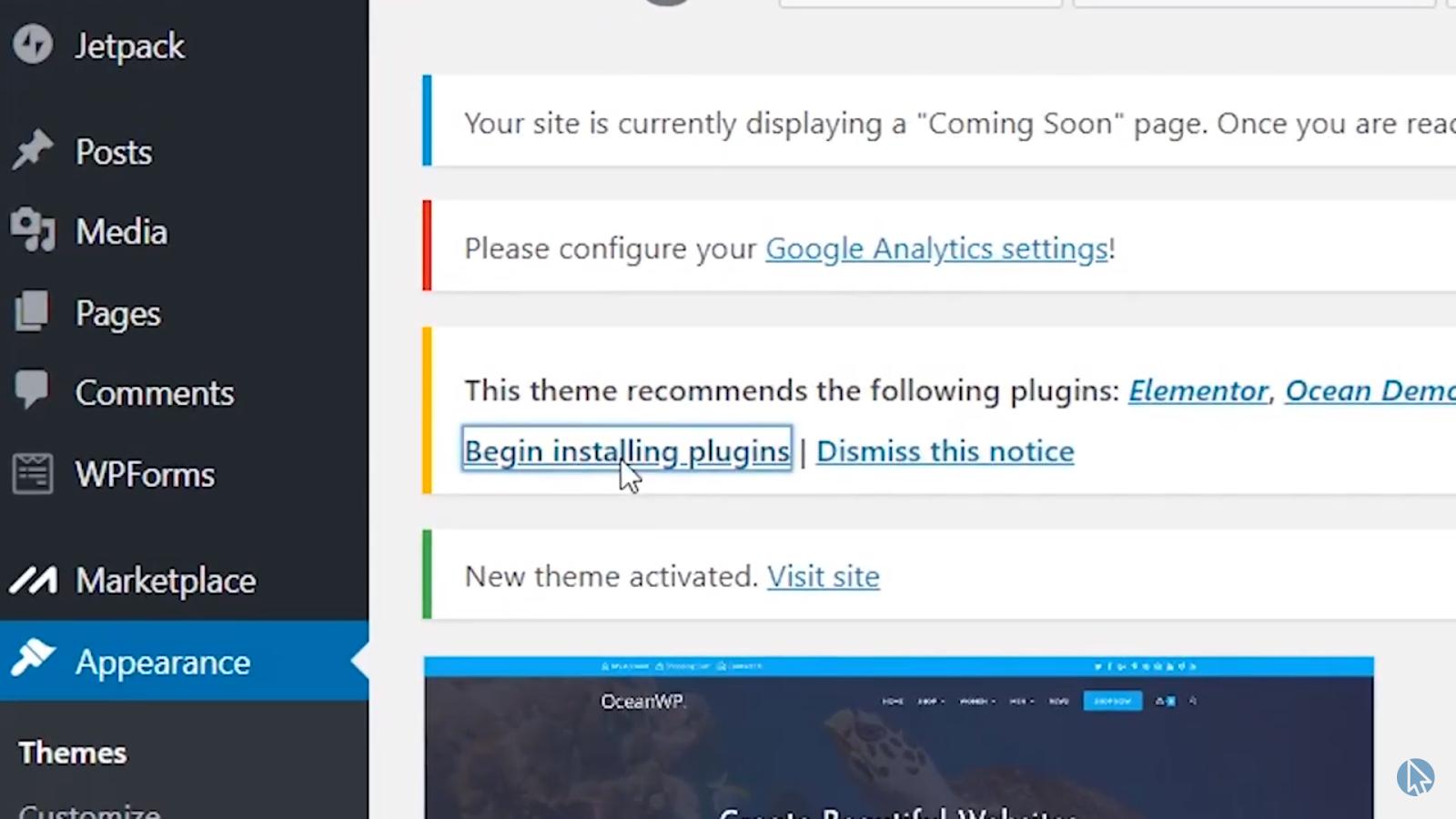 Begin installing plugins