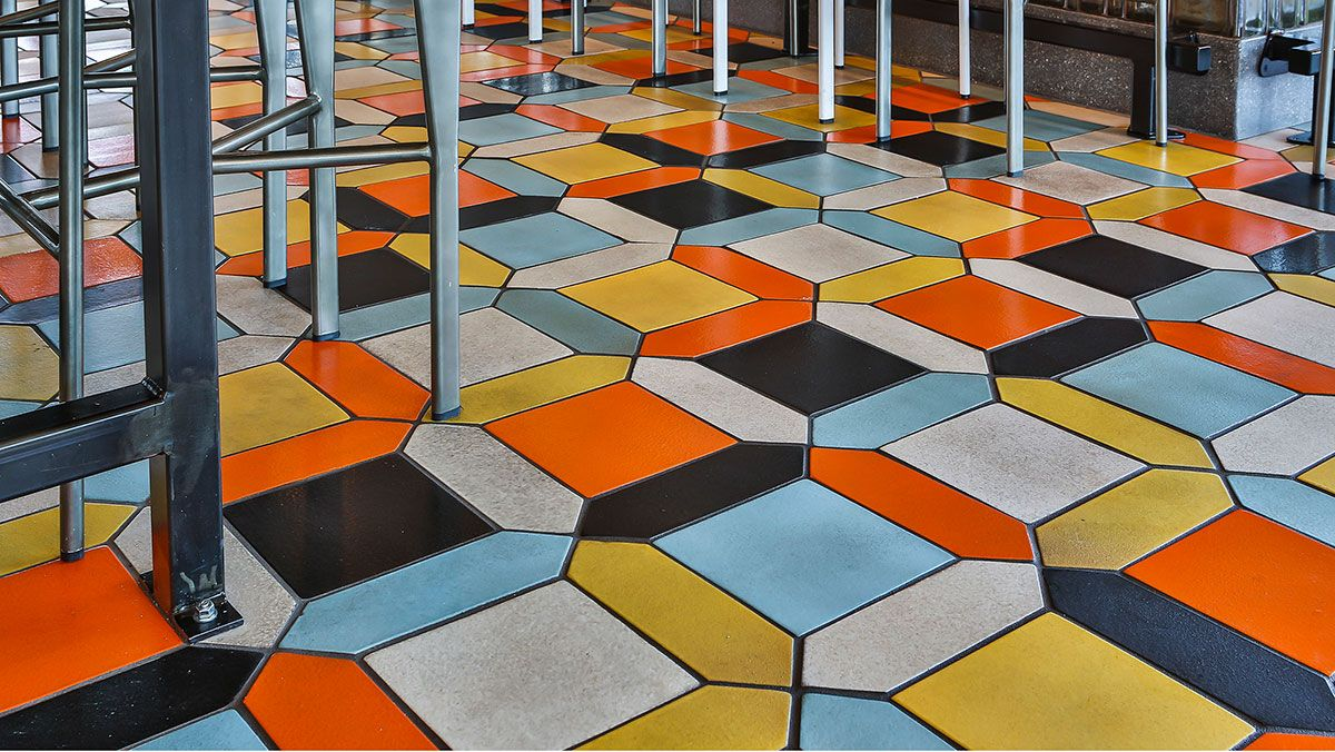 Square tile combined with different shapes on a restaurant floor