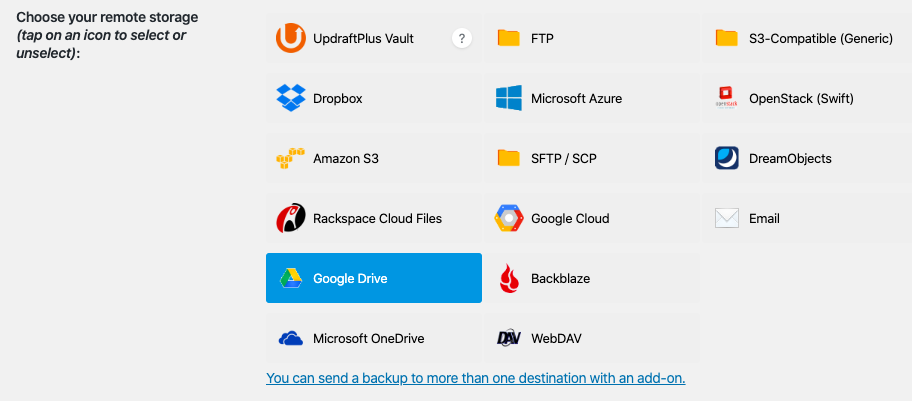 WordPress backup to Google Drive