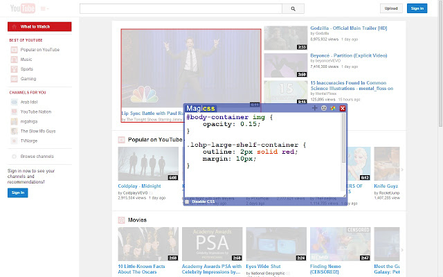 MagiCSS - Live CSS Editor chrome extension