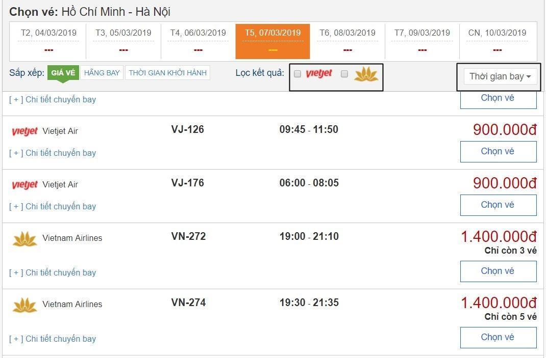 Dễ dàng tìm kiếm, sàng lọc và lựa chọn khi săn vé máy bay giá rẻ BestPrice