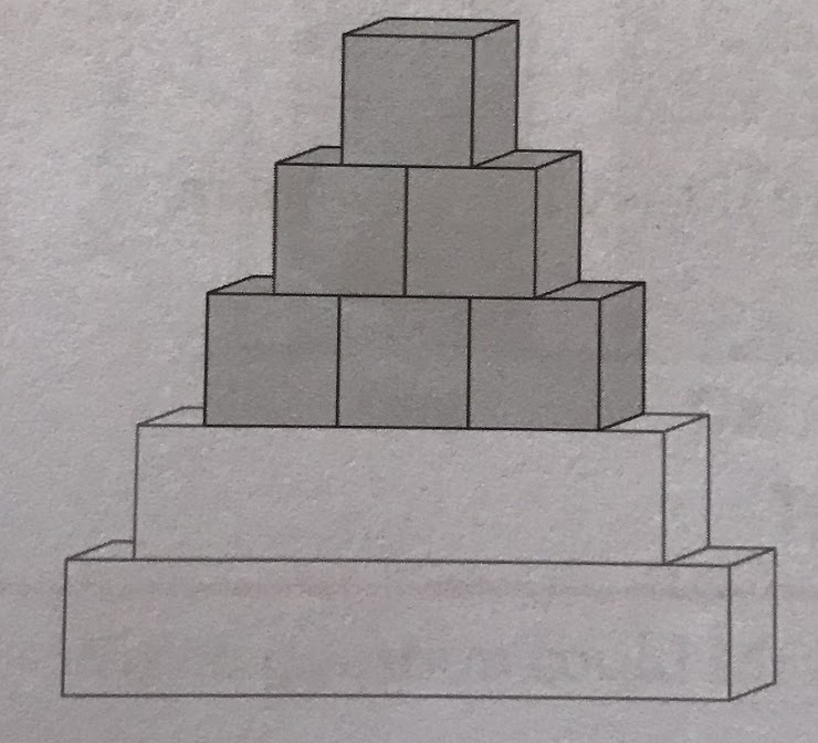 How many blocks did Kate put in the bottom two layers altogether?